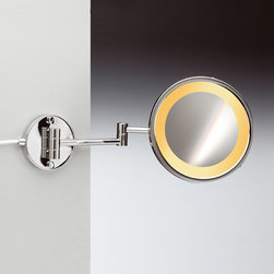 Windisch - Wall Mount One Face Hardwired Lighted 3x or 5x Brass Magnifying Mirror - One face magnifying mirror with direct connection (hardwired). Wall mounted plate has a diameter of 4.25 inches.