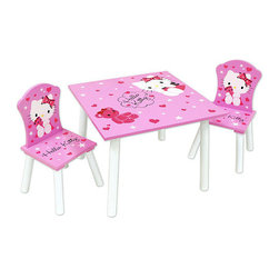 Hello Kitty Table & Chair Set - This Hello Kitty table and chairs set is perfect for the playroom or bedroom. Use it as a craft table, play table or eating table.