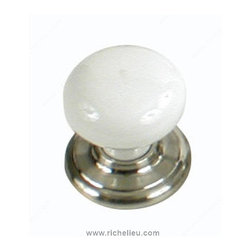 "Classic Porcelain Wardrobe Knob - 9148 - T914814230 - Finish White, Pewter Diameter 1.406"" Material Porcelain Projection - Overall Dimensions 1.531"" Screw/Nail 0.31"" Packaging format Blister"