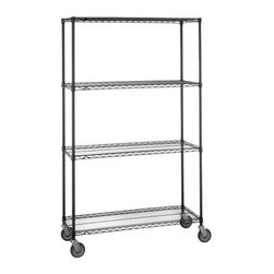 Olympic Shelf - Olympic 24 in. Deep 4-Shelf Mobile Cart - Bla - Choose Size: 24 in. W x 68 in. H24 inch depth. 600 lb. capacity per unit. Commercial Grade / Industrial Use. Olympic wire shelving made of carbon-steel will exceed all your storage needs. Open construction allows use of maximum storage space of cube. Each unit includes 4 posts, 4 shelves, 4 rubber swivel stem casters - 2 with brakes, 2 without - 4 donut bumpers and split-sleeves to attach shelves to posts. Black finishes are perfect for retail applications. Open wire design that minimizes dust accumulation and allows a free circulation of air. Greater visibility of stored items and greater light penetration. Can be loaded/unloaded from all sides. Wire shelving that can change as quickly as your needs change. Shelf wires run front to back allowing for items to slide on and off shelves smoothly. Shelves can be adjusted at 1 inch intervals along entire length of post. NSF Approved. Assembly Required