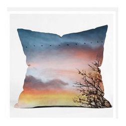 """DENY Designs - Bird Wanna Whistle Bird Line Throw Pillow - Wanna transform a serious room into a fun, inviting space? Looking to complete a room full of solids with a unique print? Need to add a pop of color to your dull, lackluster space? Accomplish all of the above with one simple, yet powerful home accessory we like to call the DENY Throw Pillow! Features: -Bird Wanna Whistle collection. -Top and back color: Print. -Material: Woven polyester. -Sealed closure. -Spot treatment with mild detergent. -Made in the USA. -Closure: Concealed zipper with bun insert. -Small dimensions: 16"""" H x 16"""" W x 4"""" D, 3 lbs. -Medium dimensions: 18"""" H x 18"""" W x 5"""" D, 3 lbs. -Large dimensions: 20"""" H x 20"""" W x 6"""" D, 3 lbs."""