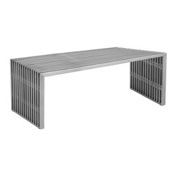 Nuevo Living - Amici Bench - The best bench for your favorite modern setting boasts elegance with an edge. Note the distinctive touch of acrylic between the lines of brushed stainless steel.