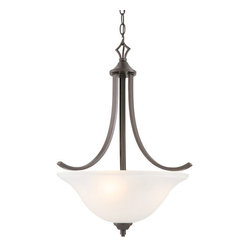 Design House - Design House 515825 Juneau 3 Light Up Lighting Energy Star Pendant with Frosted - Design House Juneau 3 Light PendantThe Transitional Design And Warm Oil Rubbed Bronze Finish Of The Juneau Family Makes Energy Star Lighting A Perfect Choice For Your Living Areas