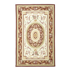 """Safavieh - Chelsea Rug, Ivory/Burgundy, 7' 9"""" x 9' 9"""" - 100% pure virgin wool pile, hand-hooked to a durable cotton backing. American Country and turn-of-the-century European designs. Th'scollection is handmade in China exclusively for Safavieh."""
