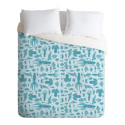 DENY Designs - Jennifer Denty Sea Creatures Duvet Cover - Turn your basic, boring down comforter into the super stylish focal point of your bedroom. Our Luxe Duvet is made from a heavy-weight luxurious woven polyester with a 50% cotton/50% polyester cream bottom. It also includes a hidden zipper with interior corner ties to secure your comforter. it's comfy, fade-resistant, and custom printed for each and every customer.