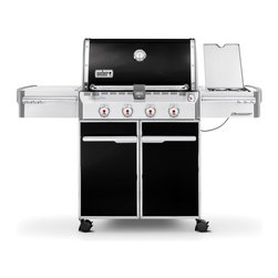 Weber - Weber Summit E-420 Gas Grill - Propane - 7121001 - Shop for Grills from Hayneedle.com! The Weber Summit E-420 Gas Grill offers beauty elegance and the capacity to grill for the entire block. With thoughtful touches like polished trim smooth lines and an enclosed tank storage area this Weber Summit gas grill will give your neighbors something to talk about. Plus a push-button LED tank scale lets you know where you stand on fuel at all times so you'll be fully equipped to handle impromptu barbecues. Features: 4 stainless steel burners 48 800 BTU-per-hour input 12 000 BTU-per-hour input side burner Snap-Jet individual burner ignite system 9.5mm-diameter stainless steel cooking grates Stainless steel Flavorizer bars Black porcelain-enamel shroud with polished handle and trim Center-mounted thermometer Accent-colored cast aluminum end caps Primary cooking area: 538 square inches Warming rack area: 112 square inches Total cooking area: 650 square inches Enclosed cart with black painted steel doors stainless steel handles and accent-colored painted side and rear panels Accent-colored painted steel frame 1 Grill Out handle light for after-dark grilling 6 tool hooks Enclosed tank storage and precision fuel gauge 2 heavy-duty locking casters; 2 heavy-duty swivel casters Includes Weber cookbook Weber model number LP 7121001 Dimensions with the lid open: 66W x 30D x 57H inches About Weber GrillsWeber-Stephen Products Co. headquartered in Palatine Ill. is the premier manufacturer of charcoal and gas grills grilling accessories and other outdoor room products. A family-owned business for more than 50 years Weber has grown to be a leading seller of outdoor grills worldwide.