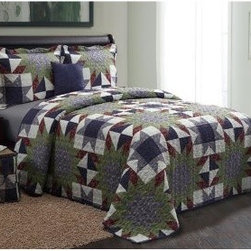 Victoria Classics American 5 pc. Quilt Set - A piece of classic Americana, this Victoria Classics American 5 pc. Quilt Set brings comfort and down-home style home. A charming way to dress up your guest bedroom, this quilt set includes a quilt and matching pillow shams. Also included are a decorative throw pillow and a handy, matching tote bag. This quilt set has a quilted patchwork pattern in blues, greens, and cream. It's machine-washable, too. Quilt Dimensions:Full/Queen: 88W x 90L inchesKing: 104W x 90L inches