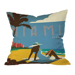 DENY Designs - Anderson Design Group Miami Throw Pillow, 20x20x6 - Do you firmly believe that life's a beach, even indoors? Then bring a little retro seaside style to your living room.