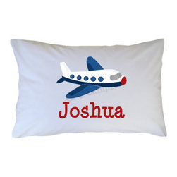 Airplane Pillow Case, Personalized by Cutie Patootie Creations - Order this personalized pillow in travel size and present it to your little one during his first flight to make a special memory.