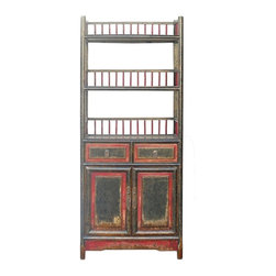 "Golden Lotus - Chinese Red & Black Small Display Bookcase Cabinet - Dimensions:   w21.5""x  d12.5""x  h51"" shelf height 9.75"""