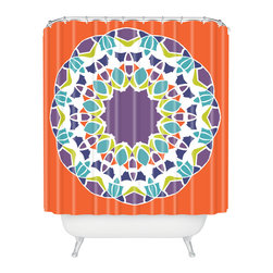 DENY Designs - Karen Harris Mod Medallion Mulberry Shower Curtain - Make a splash with this bold, mod-inspired shower curtain. It has a center medallion of plum, citrine, aqua and white blooms across the dark tangerine background. Each piece is custom printed on woven polyester and is machine washable.