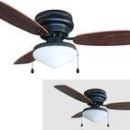 "Builder's Collection - Oil Rubbed Bronze 42"" Hugger Ceiling Fan w/ Light Kit - Motor Finish: Oil Rubbed Bronze"
