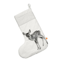Christmas Stocking, Deer - Ginormous sock to hold lots of gifts, with the monochrome print of a deer and made of 100% cotton.