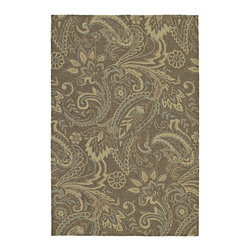 None - Indoor/ Outdoor Fiesta Brown Paisley Rug (5' x 7'6) - This Fiesta rug is a luxurious and durable indoor/outdoor rug made to be a wonderful addition anywhere around your home. This tightly-woven polypropylene rug is UV treated to prevent excessive fading and is mildew resistant.