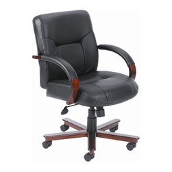 "BOSS Chair - Mid-Back Desk Chair In Italian Black Leather - Choose Option: w/o Knee TiltSplendidly crafted out of hard wood and finished in rich mahogany, this beautiful mid-back chair exudes sophistication. Its thickly padded cushions and curved arm rests are upholstered with fine, black Italian leather, ensuring that every minute you spend at your desk working enables you to experience the supreme comfort of its ergonomic design. Beautifully upholstered in genuine Black Italian Leather. Passive ergonomic seating with built-in lumbar support. Matching hardwood arms with tailored leather padding. Mahogany wood finish on 27"" base. Hooded double wheel casters. Upright locking position. Pneumatic gas lift seat height adjustment. Adjustable tilt tension control. Elegant finish on hardwood arms and leg caps. Optional knee-tilt mechanism model (B8902). Matching guest chair with sled base model (B8909). Cushion color: Black. Base/wood: Mahogany. Seat size: 21 in. W x 20.5 in. D. Seat height: 20 in. -23 in. H. Arm height: 26.5 in. -30.5 in. H. Overall dimension: 27 in. W x 28 in. D x 36.5-40 in. H. Weight capacity: 250 lbs"