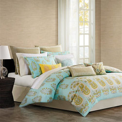 Echo - Echo Paros Comforter Set - The Echo Paros Bedding Collection gives your bedroom a fresh, modern update. Made from 300 thread count cotton sateen, this twin comforter set features a background of teal, inspired by the color of the sky over the Greek island of Paros. An overscaled paisley motif repeats across the bottom of the comforter while a small floral motif repeats across the top giving a pattern variation that pulls the eye upwards. The color palette of teal, white, and dusty yellow provides a calming environment to your bedroom allowing you to relax at the end of your day. Face: T300 100% cotton sateen fabric; Back: T180 100% cotton; 100% polyester filling. Bedskirt: 80/20 polyester/cotton fabric for the platform, T180 100% cotton solid fabric for the drop.