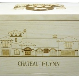 Special Personalized Chateau Flynn Custom Wine Crate - Chateau Flynn custom 6 bottle flip-top wine crate. Flynn cote of arms engraved on lid, and Flynn estate engraved on the front side