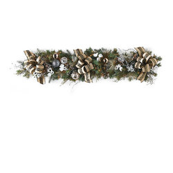 """Frontgate - Regency Pre-decorated Christmas Garland - High-quality artificial greenery realistically replicates juniper and pine. Art deco-inspired embroidered ribbon and metallic glass ornaments. Wreath, garland and swag are pre-decorated with clear lights. Coordinates with our Regency 60-Piece Ornament Collection. Centerpiece comes with three glass hurricanes that each hold a 4"""" dia. candle (not included). Effortlessly drape your home in glamorous Hollywood Regency style. Our Regency Pre-Decorated Greenery is filled with opulent yet classic details, including anemone blooms bearing a unique black beaded center and picks accented with bells and crystals. The collection's art deco nuance shines through in the palette of vintage white and black, accented by soft dove-gray.  .  .  .  .  . Items arrive fully assembled; may require some shaping after unpackaging . Recommended for indoor use only . 36"""" cords ."""