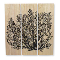 Palecek - Black Sea Fan Coral Wall Decor, Set of 3 - Coral design is hand-carved on wood panel. Metal hardware on top back for hanging.