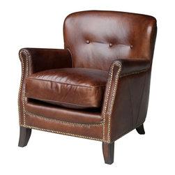 Melange Home - Vintage Club Top Grain Leather ArmChair - Vintage Club Top Grain Leather ArmChair