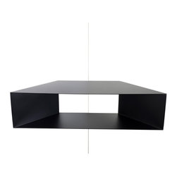 Fferrone Design - Corner Shelf - Fferrone Design - Corners are often overlooked space particularly when it comes to shelf space. The Corner Shelf by Fforrone, makes that space one to be used. The minimalist shelf is perfect for books or other objects and even presents a striking appearance if left empty. Alone or in a series, the simple design will give any space more function and a sense of style. Made of powder coated steel in Chicago IL.