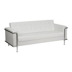 Flash Furniture - Flash Furniture Hercules Lesley Series Contemporary White Leather Sofa - This attractive white leather reception sofa will complete your upscale reception area. The design of this sofa allows it to adapt in a multitude of environments with its tufted cushions and visible accent stainless steel frame. [ZB-LESLEY-8090-SOFA-WH-GG]