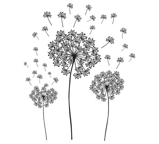 """WallPops - Dandelion Wall Art Decal Kit - Make a wish and blow! Dandelion seeds float away, symbolizing good luck, summer, and childhood. A fun and modern interpretation of the dandelion in basic black, these wall stickers are artistic and beautiful. Dandelion Kit Wall Decals come on a 17.25"""" x 24"""" sheet and contains 29 total pieces. WallPops are always repositionable and removable."""