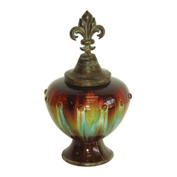 Sterling Industries - Sterling Industries Regal Vessel X-6360-15 - An Old World styled finial compliments the elegant and classic shape of this Sterling Industries vessel. This Regal Vessel incorporates a stunning blend of hues including shades of aged copper at the finial, as well as glossy shades of bronze, apple green and turquoise.