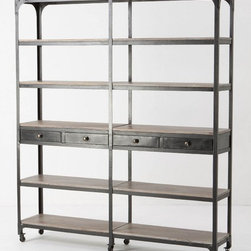 Decker Double Bookcase, Tall - There is so much you can do with this piece; it's perfect storage for the office or the kitchen. I love these open shelves that make storage more of a display.