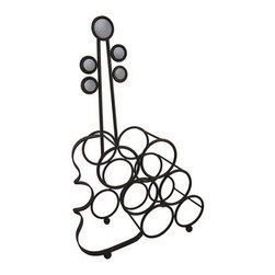 Free Standing Tabletop Metal Violin 6 Bottle Wine Rack - This metal violin wine rack adds a wonderful accent to homes, restaurants, and bars. It measures 22 1/2 inches tall, 15 inches long, and 6 3/4 inches wide. It accommodates 6 bottles, up to 3 1/2 inches in diameter. This tabletop wine rack is a great way to display your favorite bottles of wine, storing them until you`re ready to enjoy them, and it makes a great gift.