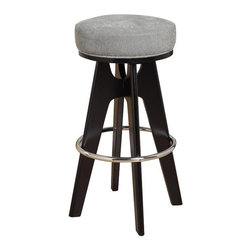 Armen Living - Armen Living Lexa Black Backless Bar Stool - Lagoon Gray Seat - 30 in. - LC4038B - Shop for Stools from Hayneedle.com! The Armen Living Lexa Black Backless Bar Stool with Lagoon Gray Seat is a simple design with an elegant look. Base and legs are wood with a black finish. Round upholstered extra thick microfiber fabric seat in lagoon gray color. Pyramid cross shaped legs form the base with a round metal ring footrest and feet protectors for your floor. Stool dimensions: 18W x 18D x 30H inches seat height: 30 inches. About Armen LivingImagine furniture without limits - youthful robust refined exuding self-expression at every angle. These are the tenets Armen Living's designers abide by when creating their modern furniture collections. Building on more than 30 years of industry experience Armen Living combines functional versatility and expert craftsmanship into their dramatic furniture styles all offered at price points fit for discriminating budgets. Product categories include bar stools club chairs dining tables ottomans sofas and more. Armen Living is based in Sun Valley Calif.
