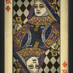 """The Artwork Factory - """"Queen of Diamonds"""" Print - Whether you think of her as your lady luck or as a picture of your own inner queen, this gorgeous Queen of Diamonds lends a regal, benevolent air to the room. The ornately designed, vintage-style print looks gracefully aged and comes framed and ready to hang."""