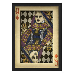 "The Artwork Factory - ""Queen of Diamonds"" Print - Whether you think of her as your lady luck or as a picture of your own inner queen, this gorgeous Queen of Diamonds lends a regal, benevolent air to the room. The ornately designed, vintage-style print looks gracefully aged and comes framed and ready to hang."