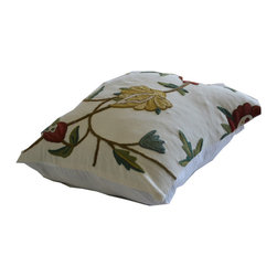 Crewel Fabric World - Crewel Pillow Sham Spring Florals Multi Color on Off White 16x16 Inches - Fabric Type: Cotton Duck