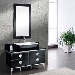 """Fresca - Fresca Moselle 47"""" Modern Glass Bathroom Vanity - The Fresca Moselle bathroom vanity offers modern details with a brass framework and chrome finish. At 47.25"""" wide and 34"""" high, this free standing bathroom vanity is perfect for mid-sized areas. And with 18"""" of deep storage space, this vanity can greatly enhance both the convenience and look of your bathroom.The aesthetic of this vanity combines tempered glass with a steel frame. Ebony Macassar veneer drawers add interior elegance and the raised ceramic sink on the countertop is sophistication plus. Etched detailing on the legs finishes the look. Ample Interior storage is accessed by drawers equipped with a special slow-closing mechanism. To complete the look, consider pairing a matching mirror with your Fresca Moselle bathroom vanity. Mirror is sold separately. Items included: Vanity, Sink, Faucet, P-Trap and Pop-Up Drain, Standard hardware needed for installation.DecorPlanet is proud to offer Fresca Bathroom products. Fresca is a leading manufacturer of high-quality vanities, accessories, toilets, faucets, and everything else to give you the freshest bathroom in the neighborhood. Fresca is known for carrying the latest and most popular styles in modern and contemporary bathroom design that are made with high quality materials and superior workmanship"""
