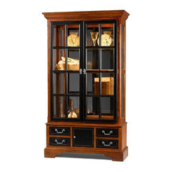 Jasper Cabinets - Traditional Two Tone Curio Cabinet in Cherry - Slightly distressed two-tone finishes in vintage cherry and black give this curio cabinet a classic look with a whisper of country inspired charm that will be an enduring addition to your home's decor. The cabinet features a wood frame and glass door and side panels and is enhanced by a mirrored back and halogen touch lights for added visual appeal. Hand rubbed. Screwed on wood backs. Mirrored back. Doors with locks. Four drawers and one door below. Three adjustable glass shelves with plate grooves. Halogen lighted with touch light and dimmer. Beveled glass doors and sides. Adjustable floor levelers. Medium distress finish. Made from solid wood and veneers. Assembly required. 17 in. W x 45 in. L x 80 in. H (176 lbs.)Jasper Cabinet's large selection of curios are made to meet our long standing tradition of excellence.