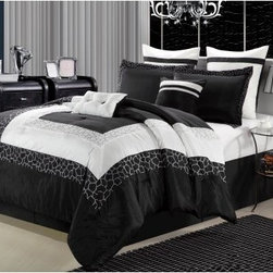 Chic Home Giraffe Embroidered Comforter Set - The Chic Home Giraffe Embroidered Comforter Set takes your bedroom for a walk on the wild side. This bold comforter set uses bold stripes in your choice of color to set the stage. Strips of giraffe pattern are there to drive it wild. This comforter set is generously sized and overfilled. It comes with all you need to add a little va va voom to your bedroom. Choose the size and configuration that works best for your space. This set features soft polyester with 100 GSM brushed microfiber fill. It's machine-washable in cold on the gentle cycle. Tumble dry on low and iron as needed. Comes in your choice of size, color, and in an 8- or 12-piece set.Bedding Set Components:8-piece Set: Comforter + Bedskirt + 2 pillow shams + 1 square 18 x 18-inch cushion + one 12 x 18-inch breakfast pillow + two 26 x 26 Euro shams 12-piece Set: Comforter + Bedskirt + 2 pillow shams + 1 square 18 x 18-inch cushion + one 12 x 18-inch breakfast pillow + two 26 x 26 Euro shams + Sheet set: 1 flat sheet, 1 fitted sheet, 2 pillowcases Dimensions:Queen Comforter: 86 x 86 inchesQueen Bedskirt: 60 x 80(2) Queen Shams: 20 x 26King Comforter: 101 x 86 inchesKing Bedskirt: 78 x 80(2) King Shams: 20 x 36