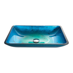Kraus - Kraus Irruption Blue Rectangular Glass Vessel Sink with PU Chrome - Enhance a bath, powder room, or wet bar with this stunning Kraus glass vessel sink featuring a brilliant turquoise and indigo pattern. Artistically handcrafted of solid tempered glass, this sink is designed for above-counter installations.