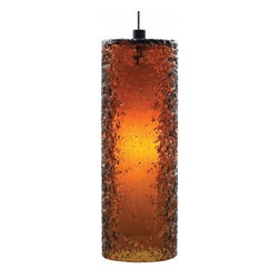 """LBL Lighting - LBL Lighting Mini Rock Candy low voltage pendant lamp - Cylinder - Products description: The Mini Rock Candy cylinder low voltage pendant lamp from LBL Lighting is designed by LBL Lighting and made in the USA. The Mini Rock Candy cylinder low voltage pendant lamp is made for domestic and commercial use and comes with mounting options FSJ, MPT, MR2 and MRL. This fixture features a cylinder, mouth-blown transparent glass rolled in clear crystal frit and flash heated to create a unique texture. This fixture comes with 6 feet of field-cuttable cord and is available in amethyst, dark amber, clear, smoke or steel blue color with a bronze or satin nickel finish. This fixture is compatible with the LBL Single Circuit Monorail, LBL Two-Circuit Monorail, or LBL Fusion Jack Canopies.  Products description: The Mini Rock Candy cylinder low voltage pendant lamp from LBL Lighting is designed by LBL Lighting and made in the USA. The Mini Rock Candy cylinder low voltage pendant lamp is made for domestic and commercial use and comes with mounting options FSJ, MPT, MR2 and MRL. This fixture features a cylinder, mouth-blown transparent glass rolled in clear crystal frit and flash heated to create a unique texture. This fixture comes with 6 feet of field-cuttable cord and is available in amethyst, dark amber, clear, smoke or steel blue color with a bronze or satin nickel finish.  This fixture is compatible with the LBL Single Circuit Monorail,LBL Two-Circuit Monorail, or LBL Fusion Jack Canopies.                                     Manufacturer:                                      LBL Lighting                                                     Designer:                                      LBL Lighting                                                     Made  in:                                     USA                                                     Dimensions:                                      Height: 10.2"""" (25.9m) X Width: 3.6"""" (9.1cm)                         """