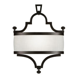 Fine Art Lamps - Black + White Story Sconce, 440250-6ST - Available in black or white and elegant all over, this classic sconce makes it easy to shed soft light in your traditional home. The textured linen shade perfectly suits the satin lacquer finish of the frame.
