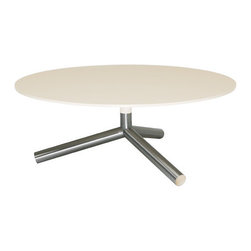 """Blu Dot - Sprout Cafe Dining Table - Pure color and stainless steel play well together in the Sprout Collection. This cafe table features a round top and matching stem with stainless steel legs - the color also peeks through the legs for a flirtatious touch. Perfect for smaller kitchens or dining rooms. Features: -Brushed stainless steel base.-Ends of legs are painted to match top.-Recessed, adjustable glides included.-MDF top finished in matte lacquer.-Sprout collection.-Collection: Sprout.-Distressed: No.Dimensions: -Overall dimensions: 28.5'' H x 36'' W x 36'' D.-Overall Product Weight: 47 lbs.-Overall Height - Top to Bottom: 28.5"""".-Overall Width - Side to Side: 36"""".-Overall Depth - Front to Back: 36""""."""