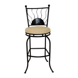 "Surf Side Patio - Bali Swivel Bar stool, Tresco Linen, 30"" Bar Height - Accent your breakfast bar, home bar, tiki bar or patio with the hand crafted, wrought iron Bali Swivel Bar stool.  Made from thick guage, powder coated wrought iron, these gorgeous bar stools swivel 360 degrees and bring a tropical touch to any area of your home, indoor or outdoor."