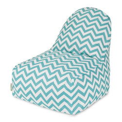 Majestic Home Goods - Teal Chevron Kick-It Chair - This Majestic Home Goods Chevron Kick-It Chair will add style and functionality to your living room, dorm room or outdoor patio. This beanbag Chair has the design of modern furniture, while still giving the comfort of a classic bean bag. Woven from outdoor treated polyester, these loungers are durable yet comfortable. The beanbags are eco-friendly and feature a removable zippered slipcovers. Spot clean with mild detergent and hang dry. Do not wash insert.