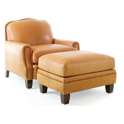Ranch Club Chair and Ottoman - Our classic tight-back ranch club chair and ottoman are made with genuine buffalo leather and capture attention with their tight edges, clean finish, and stylish comfort.  Available in braid trim as well as nailhead trim.