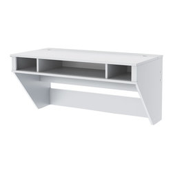 "Prepac - ""Prepac Designer Floating Desk, White"" - ""Optimize your space with Prepac's Designer Floating Desk. Perfectly suited for any home office, den, living room, kitchen or bedroom. The stable work surface is ideal for any computer or simply as a place to get your work done. A rear """"flip-up"""" door conceals a storage compartment that is ideal for power bars and adapters. No more messy wires cluttering up your workspace! Installation is a breeze for this wall mounted desk with Prepac's innovative hanging rail system. Proudly manufactured in North America using CARB-compliant, laminated composite wood. Ships Ready to Assemble, includes an instruction booklet for easy assembly and has a 5-year manufacturer's limited warranty.Mount at any height with Prepac's metal hanging rail systemA rear """"flip-up"""" door conceals a storage compartment for power bars and adapters.Cable & wire management below desk for easy access to wall outletsCompartments below desktop are perfect for storing a laptop and accessoriesFresh White FinishProudly manufactured in North America Constructed from CARB-compliant, laminated composite woodsTotal Weight Capacity: Maximum 80 lbs"""