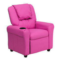 Flash Furniture - Contemporary Hot Pink Vinyl Kids Recliner with Cup Holder and Headrest - Kids will now be able to enjoy the comfort that adults experience with a comfortable recliner that was made just for them! This chair features a strong wood frame with soft foam and then enveloped in durable vinyl upholstery for your active child. Choose from an array of colors that will best suit your child's personality or bedroom. This petite sized recliner is highlighted with a cup holder in the arm to rest their drink during their favorite show or while reading a book.