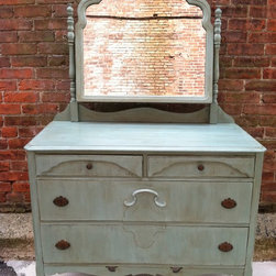 Custom Painted Dressers -French Blue with Dark Antique Wax - Sold. Similar available in our current inventory of antique furniture. Email us at kingstonkrafts@gmail.com to receive photos of similar antique inventory. Or call 401-516-7711 to schedule a visit in our Providence, RI studio.