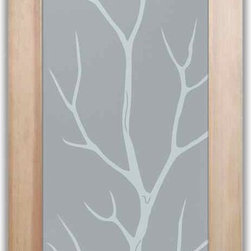 """Bathroom Doors - Interior Glass Doors Frosted - Branch Out - CUSTOMIZE YOUR INTERIOR GLASS DOOR!  Interior glass doors or glass door inserts.  .Block the view, but brighten the look with a beautiful interior glass door featuring a custom frosted privacy glass design by Sans Soucie! Suitable for bathroom or bedroom doors, there are no clear areas on this glass.  All surface areas are etched/frosted to be 100% opaque.  Note that anything pressed up against the glass is visible, and shapes and shadows can be seen within approx. 5-12"""" of the glass.  Anything 5-12"""" from the glass surface will become obscured.  Beyond that distance, only lights and shadows will be discernible. Doors ship for just $99 to most states, $159 to some East coast regions, custom packed and fully insured with a 1-4 day transit time.  Available any size, as interior door glass insert only or pre-installed in an interior door frame, with 8 wood types available.  ETA will vary 3-8 weeks depending on glass & door type........  Select from dozens of sandblast etched obscure glass designs!  Sans Soucie creates their interior glass door designs thru sandblasting the glass in different ways which create not only different levels of privacy, but different levels in price.  Bathroom doors, laundry room doors and glass pantry doors with frosted glass designs by Sans Soucie become the conversation piece of any room.   Choose from the highest quality and largest selection of frosted decorative glass interior doors available anywhere!   The """"same design, done different"""" - with no limit to design, there's something for every decor, regardless of style.  Inside our fun, easy to use online Glass and Door Designer at sanssoucie.com, you'll get instant pricing on everything as YOU customize your door and the glass, just the way YOU want it, to compliment and coordinate with your decor.   When you're all finished designing, you can place your order right there online!  Glass and doors ship worldwide, custom packed i"""