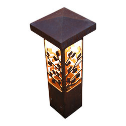 """Attraction Lights - Bollard Light- Aspen- Decorative steel light fixture, 30"""" - The 6 x 6 Bollard light is 42""""  tall and is perfect for illuminating steps and entryways and it also makes a great piece of functional steel art or sculpture for your back yard by the patio or within perennial flower beds.  If your tired of the same old boring path lights and are ready for something unique and different,  these sculptural steel pieces really make a statement.  Anchored on a concrete footing, not even the biggest dog will not knock them over.  Standard 12 volt lighting that can be modified to 120 volt. The lights come standard with a 2700k (warm white color) LED light bulb.  This particular pattern is from our Aspen series and is perfect for cabins and woodsy settings."""
