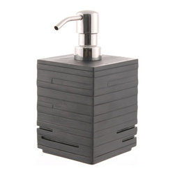 Gedy - Black Soap Dispenser - Give your countertop a sleek, modern look with this sophisticated black soap dispenser. This geometric beauty is made of thermoplastic resin, with a polished chrome pump for extra shine.